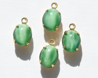 Vintage Dark Green Moonglow Oval Stones in 1 Loop Brass Setting ovl005NN