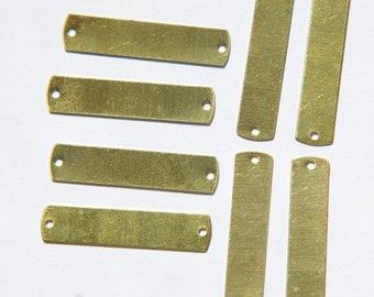 2 Hole Raw Brass Flat Pad Narrow Rectangle Connector Setting mtl292