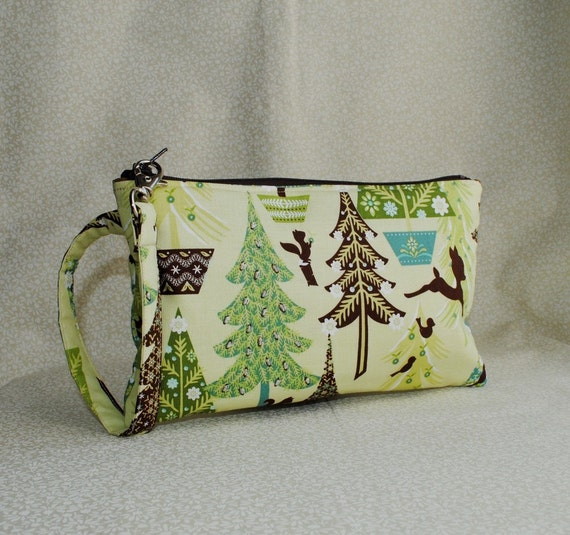 40% OFF - Square Wristlet  Zipper Pouch - Alpine Wonderland, Trees in Green