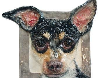 Chihuahua CERAMIC Portrait Sculpture 3D Dog Art Tile Plaque FUNCTIONAL ART by Sondra Alexander