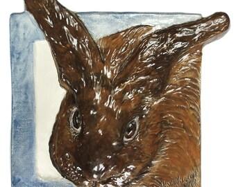 Bunny Rabbit Tile CERAMIC Portrait Sculpture 3d Art Tile Plaque FUNCTIONAL ART by Sondra Alexander In Stock