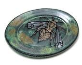Oval Ceramic Plate with Majolica Glaze