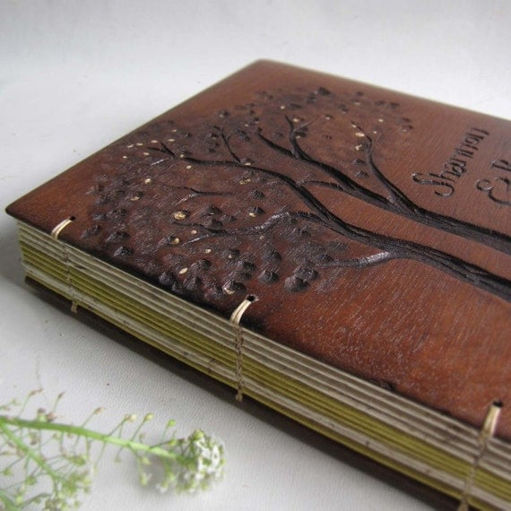 Wedding Guest book Personalized RESERVED Wood book Upcycled furniture Reclaimed