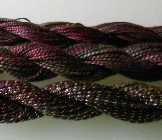 Purple, Dark Grey, Olive, Three Thread Selection, Unique, Yarn, Serendipity