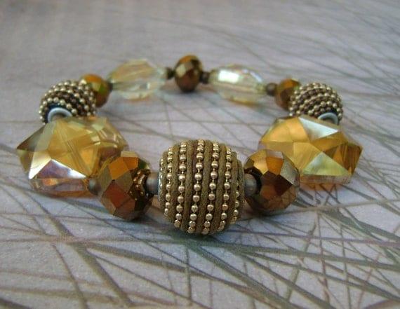 Summer Glitz stretch bracelet champagne gold crystals