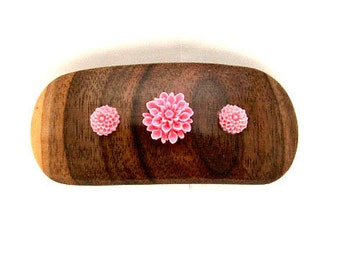 Handmade Wood Barrette with French Made Clip Medium Pink Dahlias