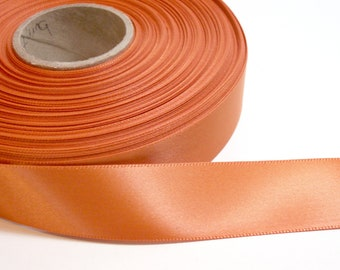 Burnt Orange Double-Faced Satin Ribbon 7/8 inch wide x 10 yards, Offray Burnt Sienna Ribbon, SECOND QUALITY FLAWED