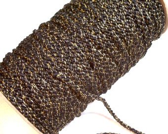 Black Cord, Black and Metallic Gold Braided Cord Trim 1/4 inch diameter x 3 yards