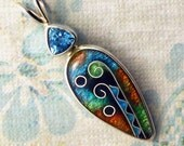Cloisonne Enamel Pendant with Sky Blue Topaz - Summer Days