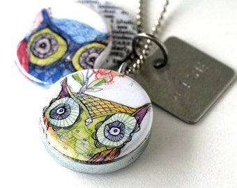 Owl Jewelry, Owl Locket Necklace, Owl Art Locket, Art Locket Necklace, Stamped Necklace, Owl Lover Gift, Owl Art Picture Locket, Corid