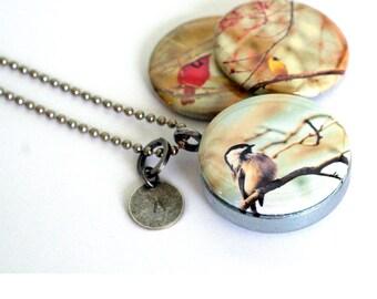 Birds in Trees Jewelry, Birds in Trees Locket Necklace, Birds on Branches, Bird Jewelry, 3 in 1, Bird Photography Jewelry, Gift for Birder