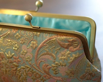 Gold and Aqua Brocade Clutch