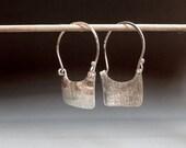 Sterling Silver Textured Square Hoop Earrings
