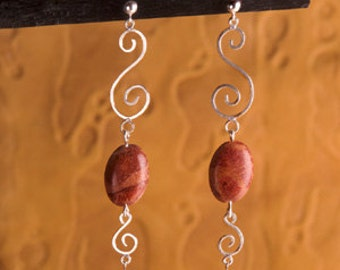 Sterling Silver Spirals with Genuine red Coral earrings - Great for Holiday