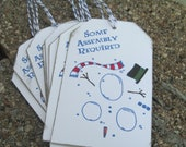 Some Assembly Required Christmas Gift Tags in Blue Set of 8 Snowman Winter Humor