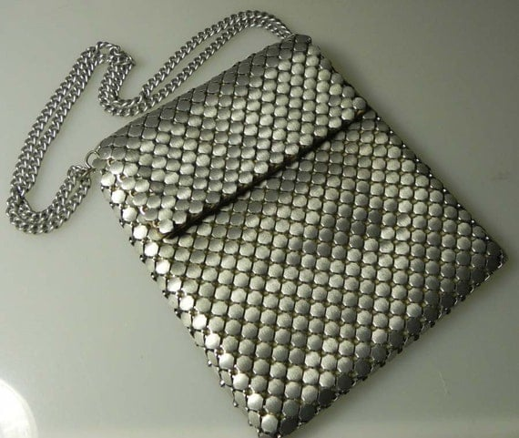 Whiting and Davis Mesh Shoulder Bag Gun Metal Silver