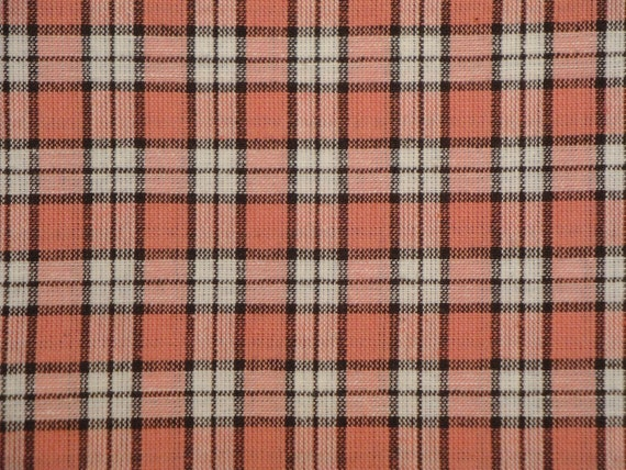 Homespun Fabric Rose, Mocha And White MEDIUM Plaid 1 YARD