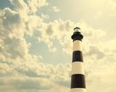 Lighthouse photo, neutral decor, inspiration, clouds, spiritual, pale blue, black and white, stripes, coastal, nautical