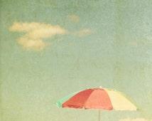 Beach umbrella, dreamy, rainbow colors, olive green, sun, parasol, seashore, vacation, atlantic ocean, maine coast, red, orange, yellow