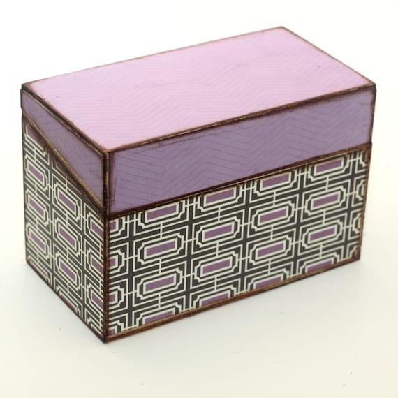 Recipe Box Purple Brown Chevron Wooden Box READY TO SHIP Fits 4x6 Recipe Cards
