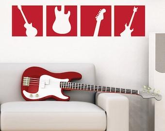 Guitar Wall Decal Squares - Vinyl Wall Art Sticker - Boy Bedroom Wall Decal - Music Guitar - TR113