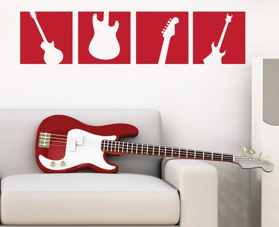 Guitar Wall Decal Squares - Vinyl Wall Art Sticker - Boy Bedroom Wall Decal - Music Guitar - TR113