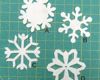 """3.5"""" to 4"""" snowflakes 8 pcs  total. Wool felt, Up to 4 styles and 4 colors"""