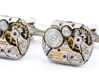 Men Cufflinks - Square Steampunk Metal Cuff Links