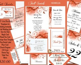 Elegant Fall Swirls Wedding Invitation Kit on CD