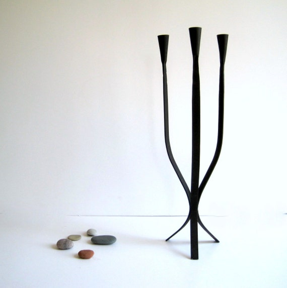Mid Century Danish Modern Dansk Style Iron Candle Holder Candelabra Large