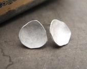 Handmade Rustic Sterling Silver Dish Earrings - Studs
