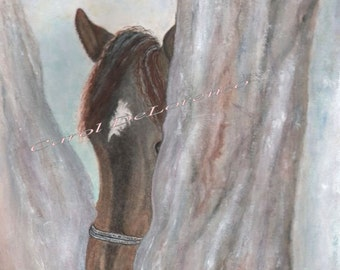 Watercolor Painting Horse Art, Horse Painting, Horse Watercolor, Horse Art Print, Print Of Original Watercolor Titled Watchful Eye