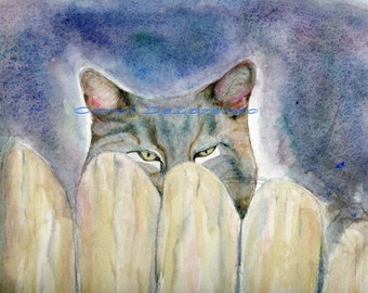 Watercolor Painting Cat Art, Cat Painting, Cat Watercolor, Cat Art Print, Pet Art, Cat Portrait, Watercolor Print Titled Bird Watching