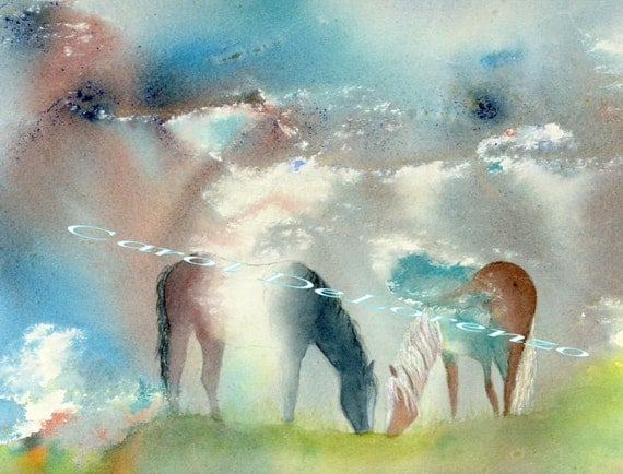 Watercolor Painting Horse Art, Horse Painting, Horse Watercolor, Equine Art, Horse Art Print Titled Mustang Light Bodies
