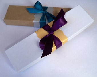 Small presentation box with ribbon and belly band for scroll invitations, set of 15
