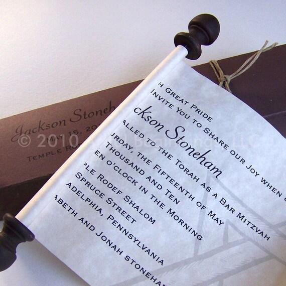 Bar Mitzvah scroll invitations, star of David scroll, parchment scroll invitation, set of 10