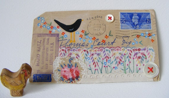 Original artwork on a 1953 British Envelope   Hand painted Bird and embroidered flowers