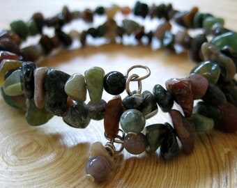 Green Stone Wrap Bracelet Gemstone Bracelet Handmade Jewelry Rhapsody Jasper Cuff Artisan  Handcrafted Bohemian Beach Jewelry Earthy Fashion