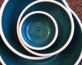 Peacock Blue Ceramic Nesting Bowls - Large Set - Stoneware Pottery Bowls