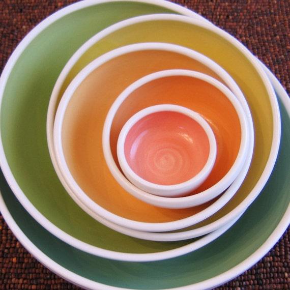 Rainbow Pottery Nesting Bowls - Large Stoneware Serving Set