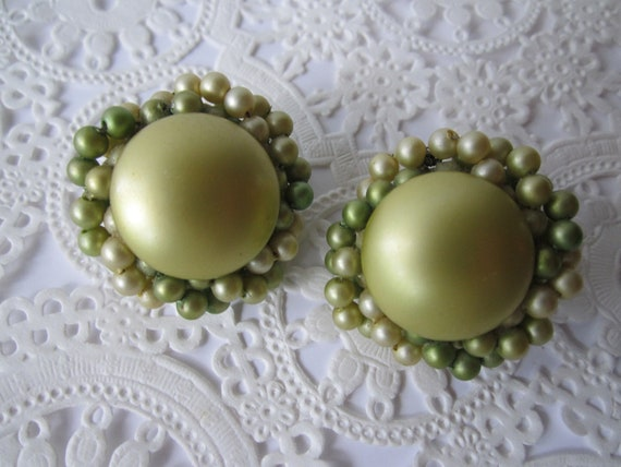 Vintage Faux Pearl Chartreuse Green Clip Earrings