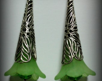 Lime Green Lucite Trumpet Flowers, Glass Czech Beads and Silver Earrings (es6)