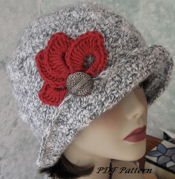 Crochet HAT PATTERN- Fitted Flapper Style With Brim Petal Trim And Back Pleats  PDF Resell finished