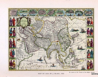 Vintage 1947  Print of 1632 Map of Asia and Jahangir Drinking Wine