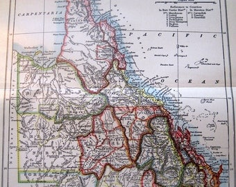 1897 Victorian Antique Color Map of Queensland Australia