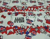 Japanese Fabric -- Hello Kitty in England(linen/cotton)