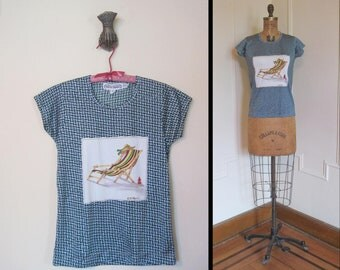 Beach Bums and Herringbones, 1970s Short Sleeved Shirt with a Beach Chair and a Sun Hat - size small to medium