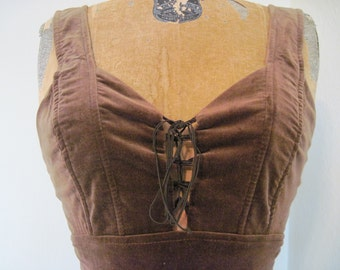 1970s Brown Velvet Lace Up Halter Maxi Dress - BOHO CHIC - vintage size 5, extra small to small