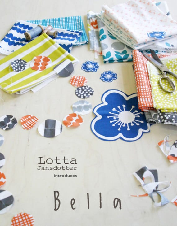 BELLA fat quarter bundle, full collection--19 pieces---4-3/4 yards total--Lotta Jansdotter for Windham Fabrics