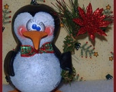 hand painted penguin gourd ornament hp winter christmas glitter poinsetta holiday pine teamhaha hafair lisa robinson PEANUT prim chick ofg